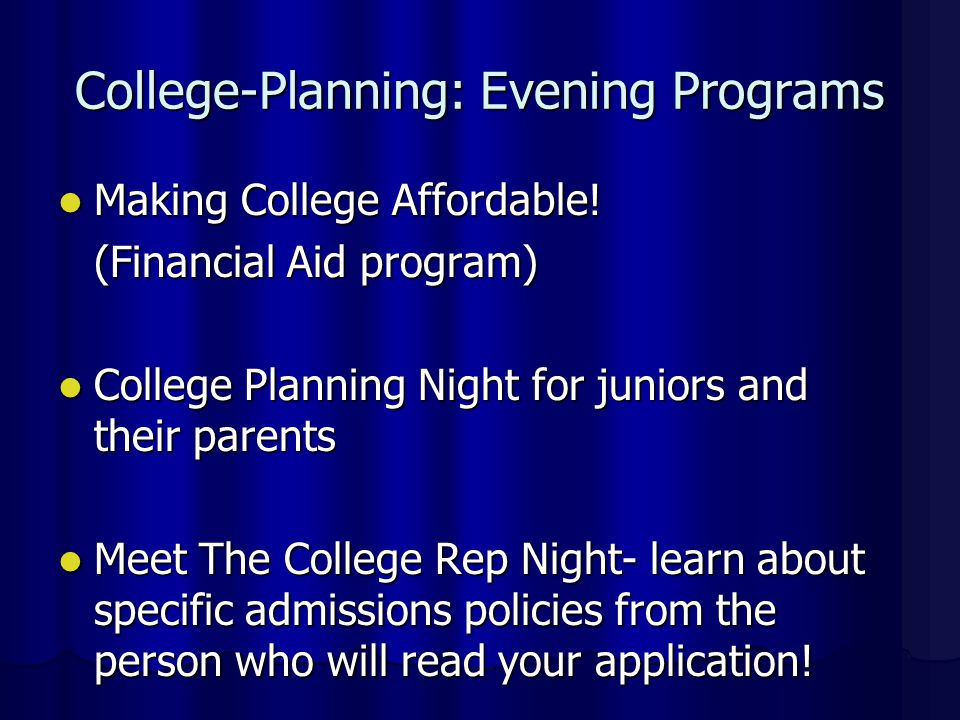 College-Planning: Evening Programs Making College Affordable.
