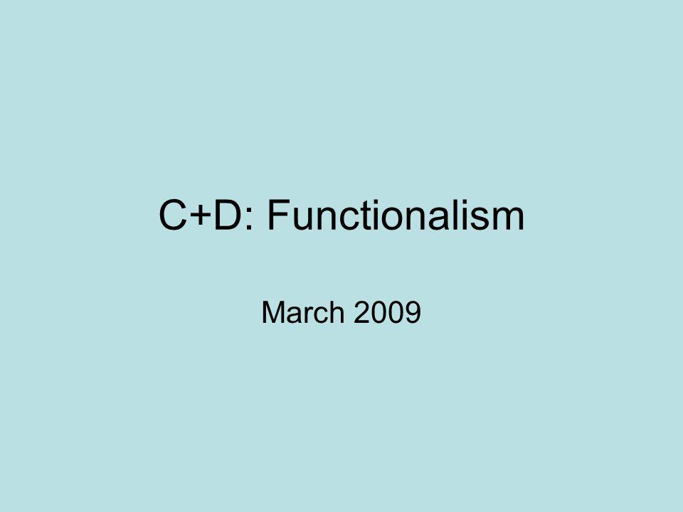 C+D: Functionalism March 2009