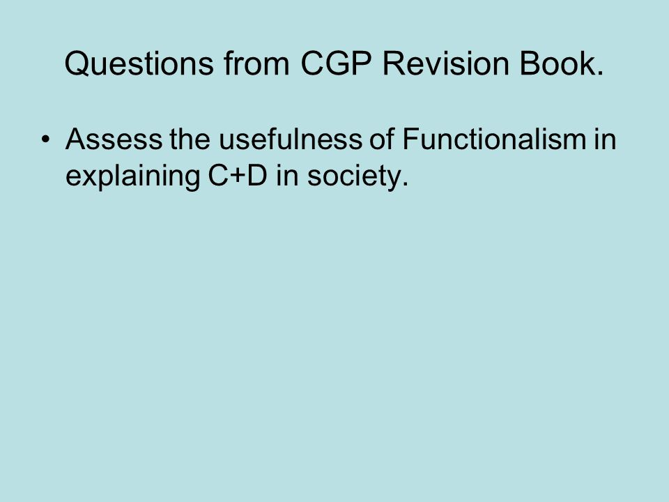Questions from CGP Revision Book.