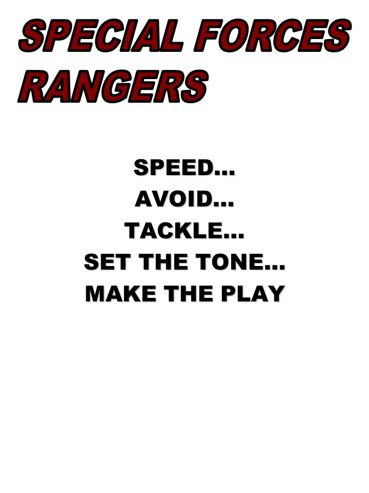 SPEED…AVOID…TACKLE… SET THE TONE… MAKE THE PLAY