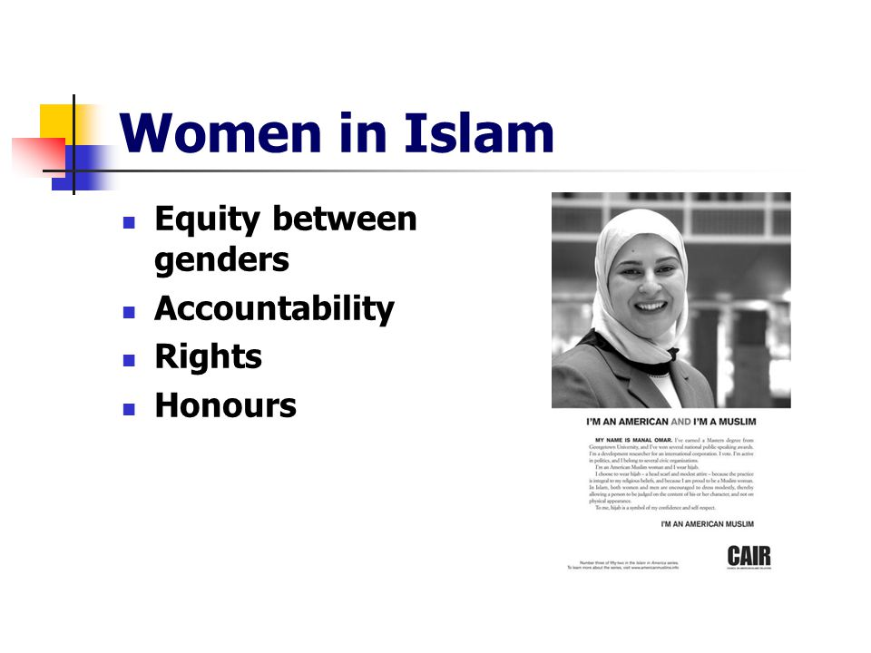 Women in Islam Equity between genders Accountability Rights Honours