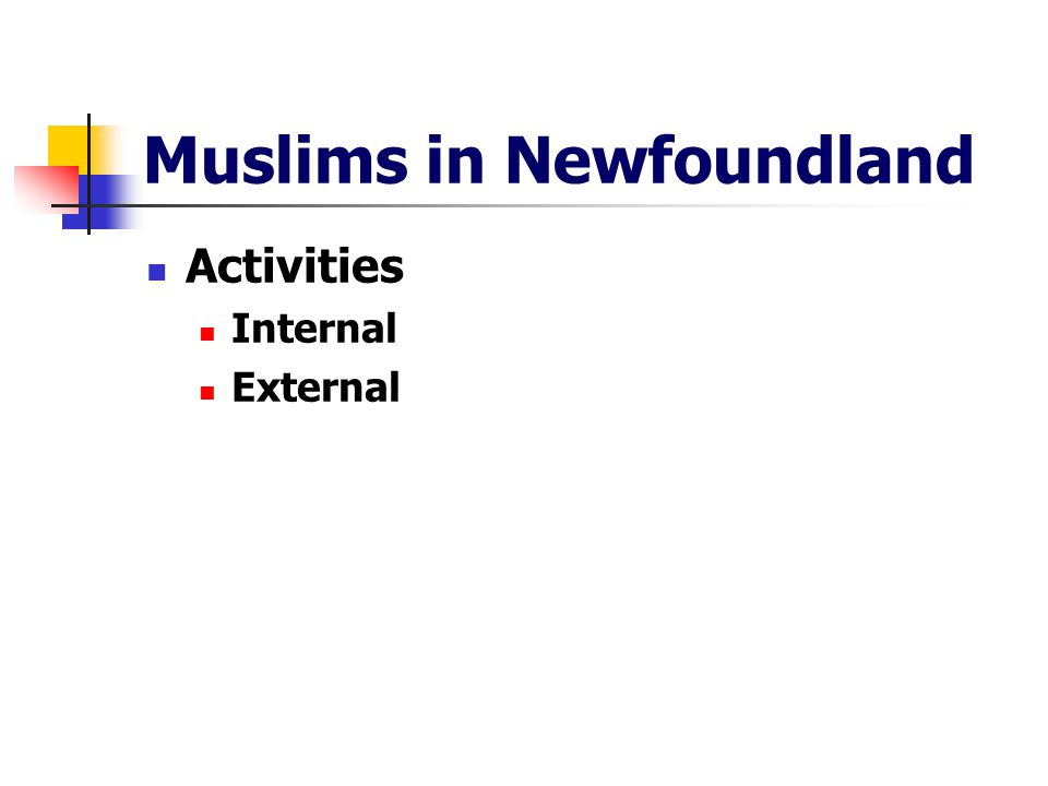 Muslims in Newfoundland Activities Internal External