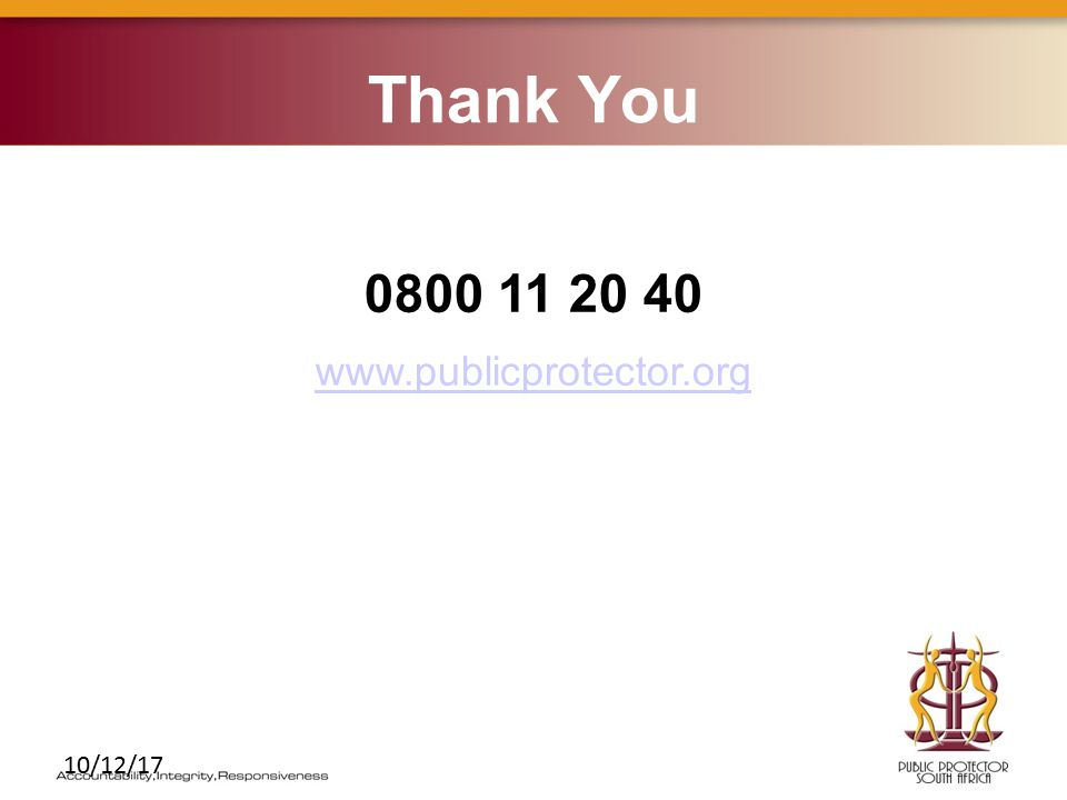10/12/17 Thank You 0800 11 20 40 www.publicprotector.org