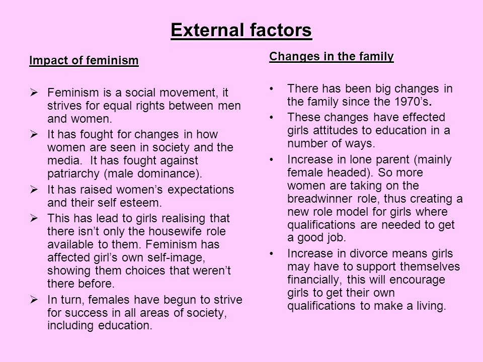 External factors continued… Changes in women's employment  In the last few decades there have been a number of important changes in women's employment  1970 Equal Pay Act – illegal to pay women less than men for the same job  More women are now in employment (part-time and often in the service sector)  Some women are now breaking through the 'glass ceiling' (invisible barrier that keeps them from reaching the top)  All these changes encourage females to do well in education, as they now see there are many job opportunities for them Girls changing attitudes and ambitions  Changes in family and employment have lead to changes in girls attitudes and priorities  Sue Sharpe interviewed girls in the 1970s on their priorities.