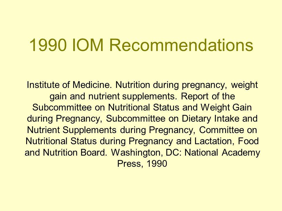 1990 IOM Recommendations Institute of Medicine.