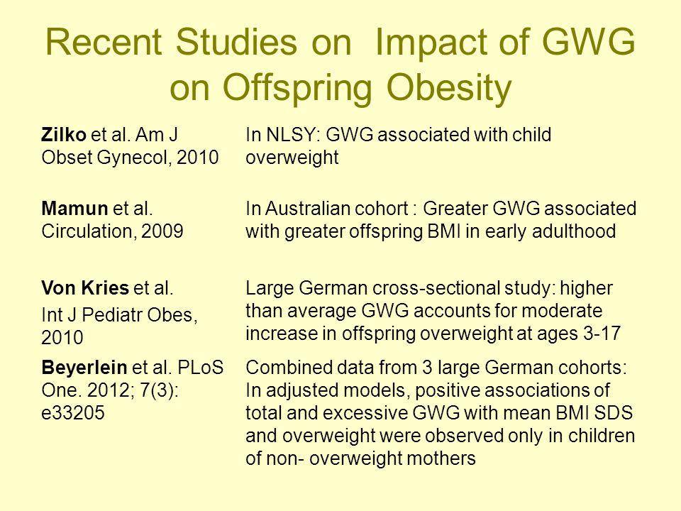 Recent Studies on Impact of GWG on Offspring Obesity Zilko et al.