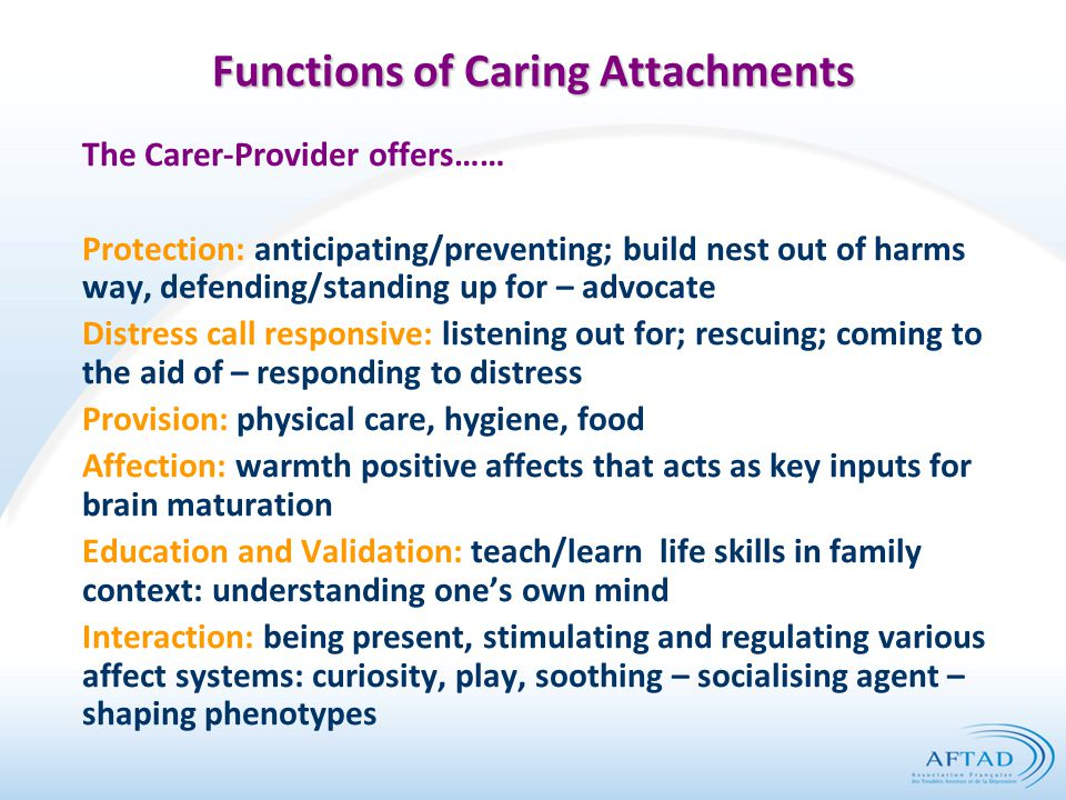 Functions of Caring Attachments The Carer-Provider offers…… Protection: anticipating/preventing; build nest out of harms way, defending/standing up for – advocate Distress call responsive: listening out for; rescuing; coming to the aid of – responding to distress Provision: physical care, hygiene, food Affection: warmth positive affects that acts as key inputs for brain maturation Education and Validation: teach/learn life skills in family context: understanding one's own mind Interaction: being present, stimulating and regulating various affect systems: curiosity, play, soothing – socialising agent – shaping phenotypes