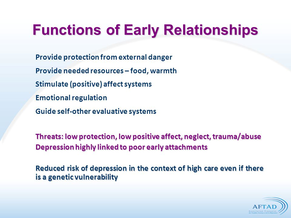 Functions of Early Relationships Provide protection from external danger Provide needed resources – food, warmth Stimulate (positive) affect systems Emotional regulation Guide self-other evaluative systems Threats: low protection, low positive affect, neglect, trauma/abuse Depression highly linked to poor early attachments Reduced risk of depression in the context of high care even if there is a genetic vulnerability