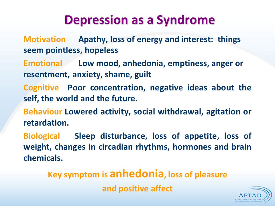 Depression as a Syndrome MotivationApathy, loss of energy and interest: things seem pointless, hopeless EmotionalLow mood, anhedonia, emptiness, anger or resentment, anxiety, shame, guilt Cognitive Poor concentration, negative ideas about the self, the world and the future.