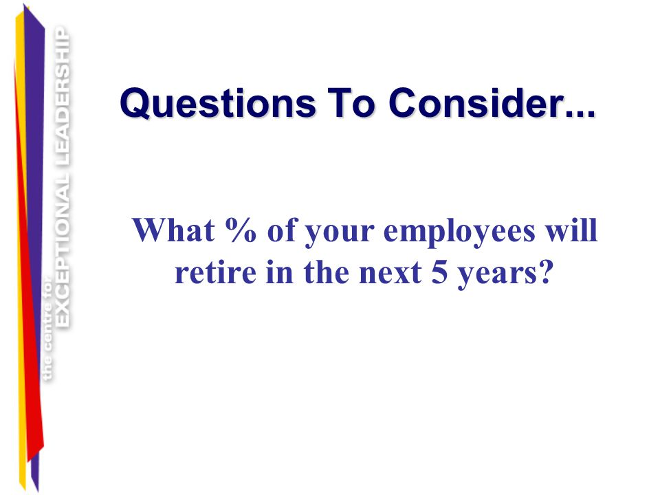 Questions To Consider... What % of your employees are looking for other employment?