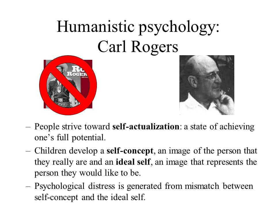Humanistic psychology: Carl Rogers –People strive toward self-actualization: a state of achieving one's full potential. –Children develop a self-conce