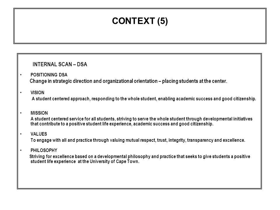 CONTEXT (5) INTERNAL SCAN – DSA POSITIONING DSA Change in strategic direction and organizational orientation – placing students at the center.