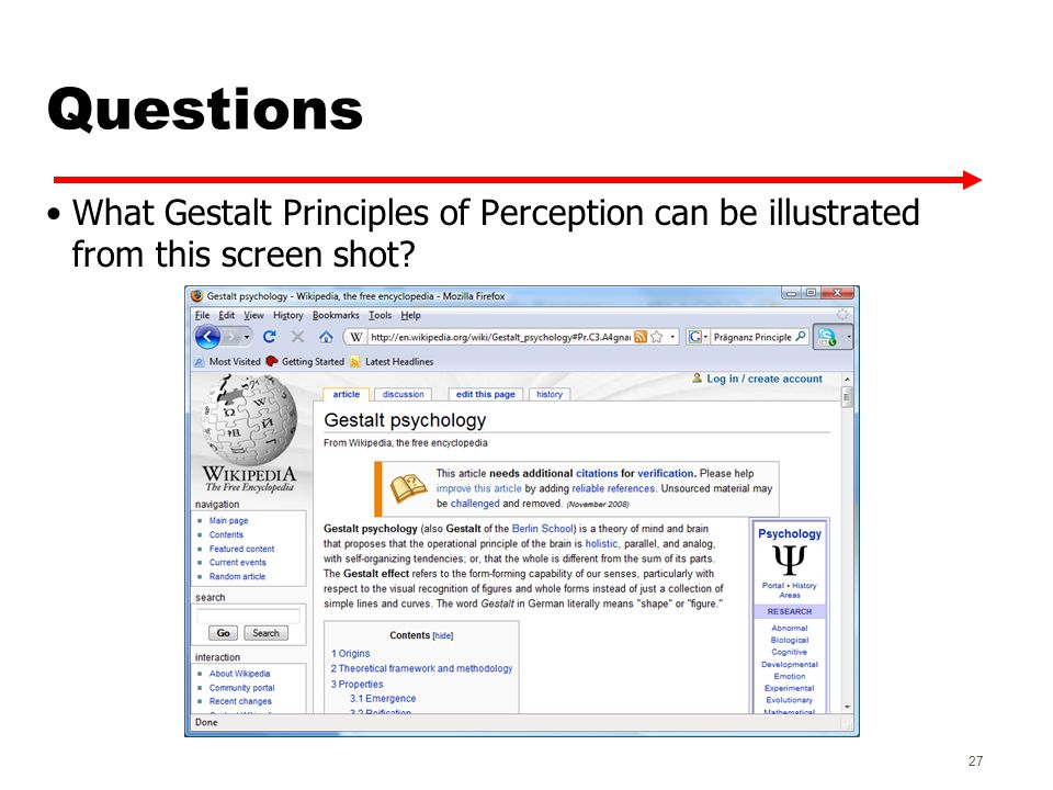 Questions What Gestalt Principles of Perception can be illustrated from this screen shot 27