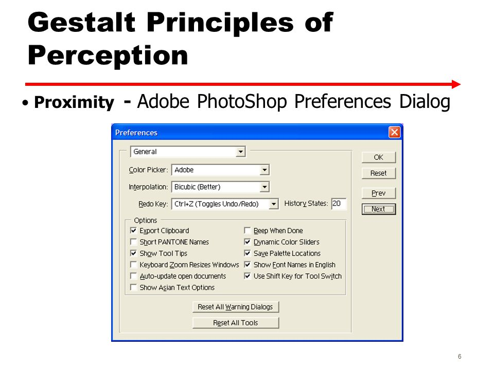 Gestalt Principles of Perception Proximity - Adobe PhotoShop Preferences Dialog 6