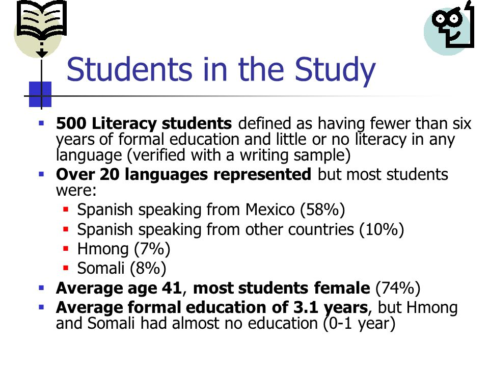 Students in the Study  500 Literacy students defined as having fewer than six years of formal education and little or no literacy in any language (verified with a writing sample)  Over 20 languages represented but most students were:  Spanish speaking from Mexico (58%)  Spanish speaking from other countries (10%)  Hmong (7%)  Somali (8%)  Average age 41, most students female (74%)  Average formal education of 3.1 years, but Hmong and Somali had almost no education (0-1 year)