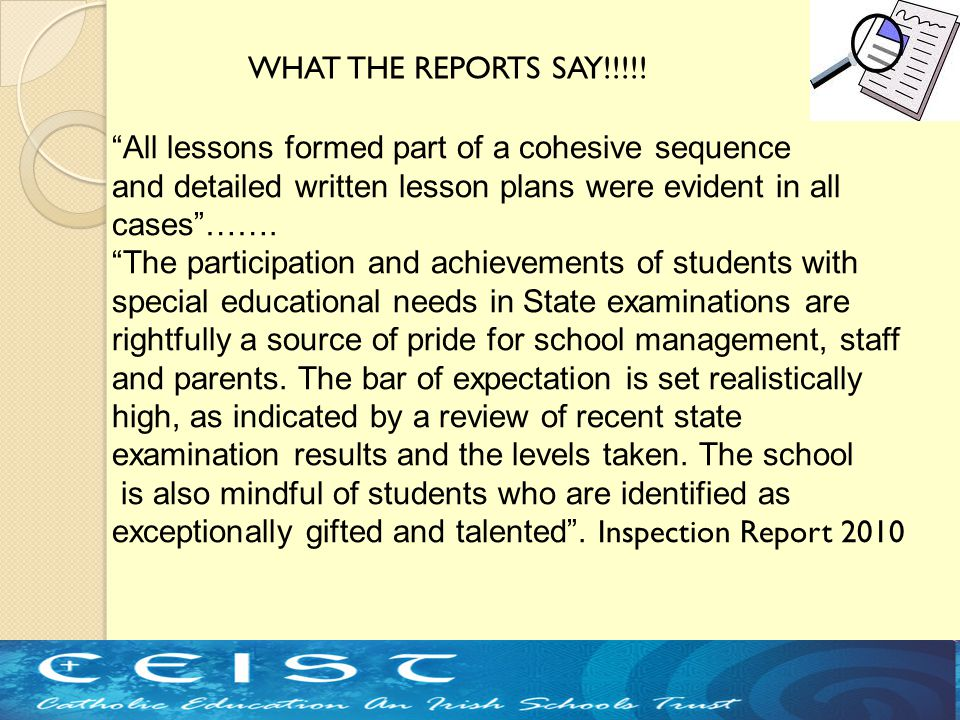 """All lessons formed part of a cohesive sequence and detailed written lesson plans were evident in all cases""……. ""The participation and achievements of"