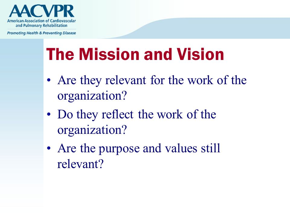 The Mission and Vision Are they relevant for the work of the organization.