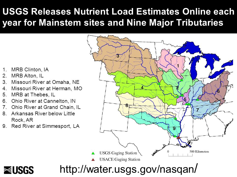USGS Releases Nutrient Load Estimates Online each year for Mainstem sites and Nine Major Tributaries 1.MRB Clinton, IA 2.MRB Alton, IL 3.Missouri River at Omaha, NE 4.Missouri River at Herman, MO 5.MRB at Thebes, IL 6.Ohio River at Cannelton, IN 7.Ohio River at Grand Chain, IL 8.Arkansas River below Little Rock, AR 9.Red River at Simmesport, LA http://water.usgs.gov/nasqan /