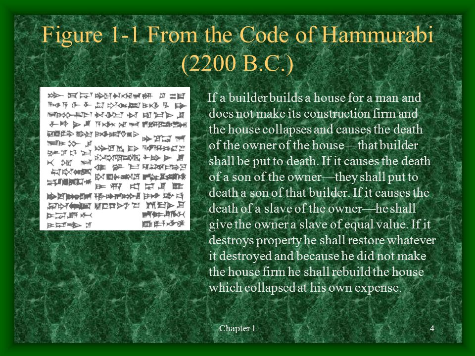 Chapter 14 Figure 1-1 From the Code of Hammurabi (2200 B.C.) If a builder builds a house for a man and does not make its construction firm and the house collapses and causes the death of the owner of the house––that builder shall be put to death.