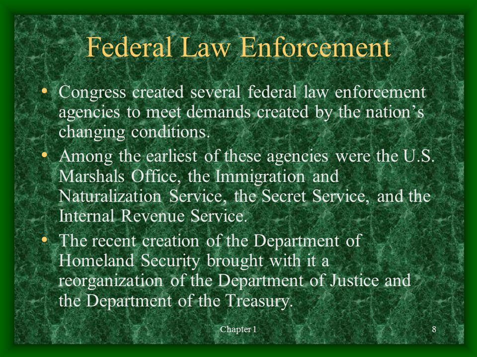 Chapter 18 Federal Law Enforcement Congress created several federal law enforcement agencies to meet demands created by the nation's changing conditions.