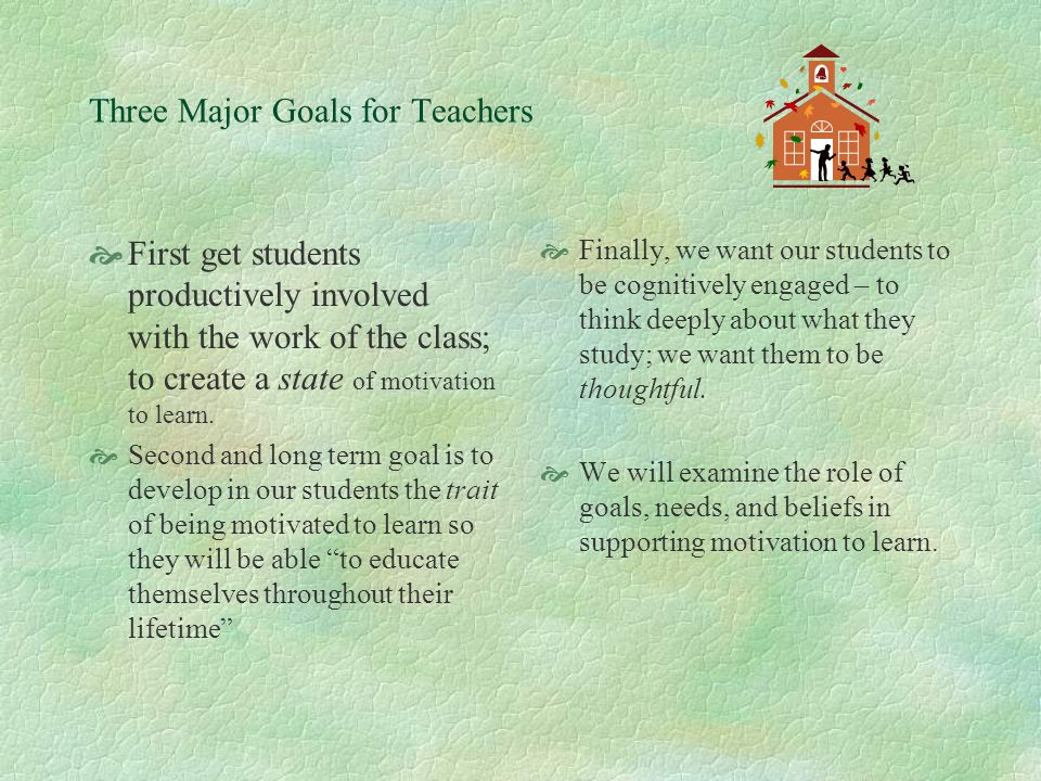 MOTIVATION TO LEARN IN SCHOOL  Teachers are concerned about developing a particular kind of motivation in their students – the motivation to learn.