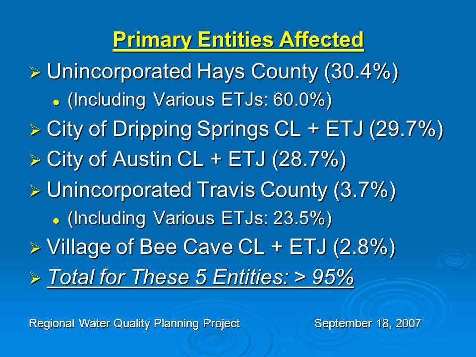 Primary Entities Affected  Unincorporated Hays County (30.4%) (Including Various ETJs: 60.0%) (Including Various ETJs: 60.0%)  City of Dripping Springs CL + ETJ (29.7%)  City of Austin CL + ETJ (28.7%)  Unincorporated Travis County (3.7%) (Including Various ETJs: 23.5%) (Including Various ETJs: 23.5%)  Village of Bee Cave CL + ETJ (2.8%)  Total for These 5 Entities: > 95% Regional Water Quality Planning ProjectSeptember 18, 2007