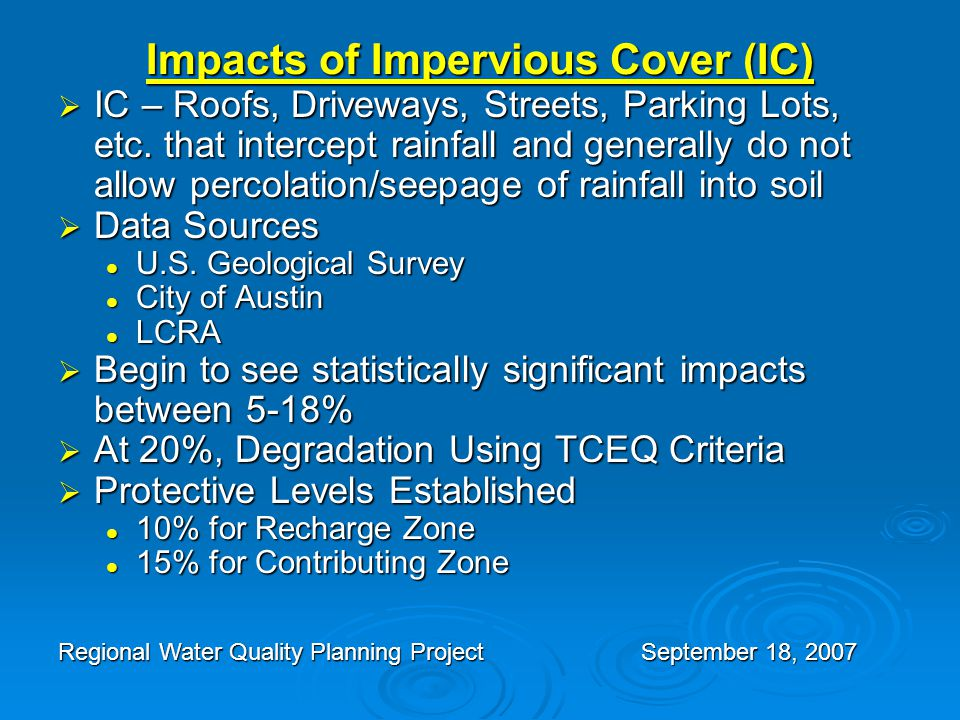 Impacts of Impervious Cover (IC)  IC – Roofs, Driveways, Streets, Parking Lots, etc.
