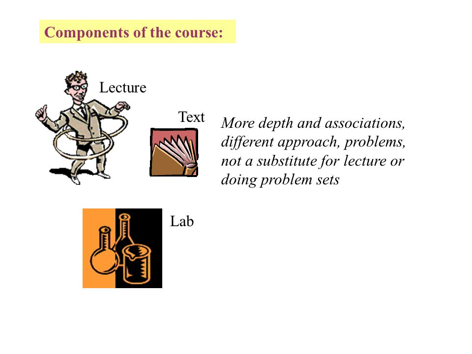 Components of the course: Lecture Lab Not as integrated as we would like.