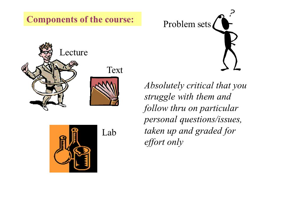 Components of the course: Lecture Lab Text More depth and associations, different approach, problems, not a substitute for lecture or doing problem sets