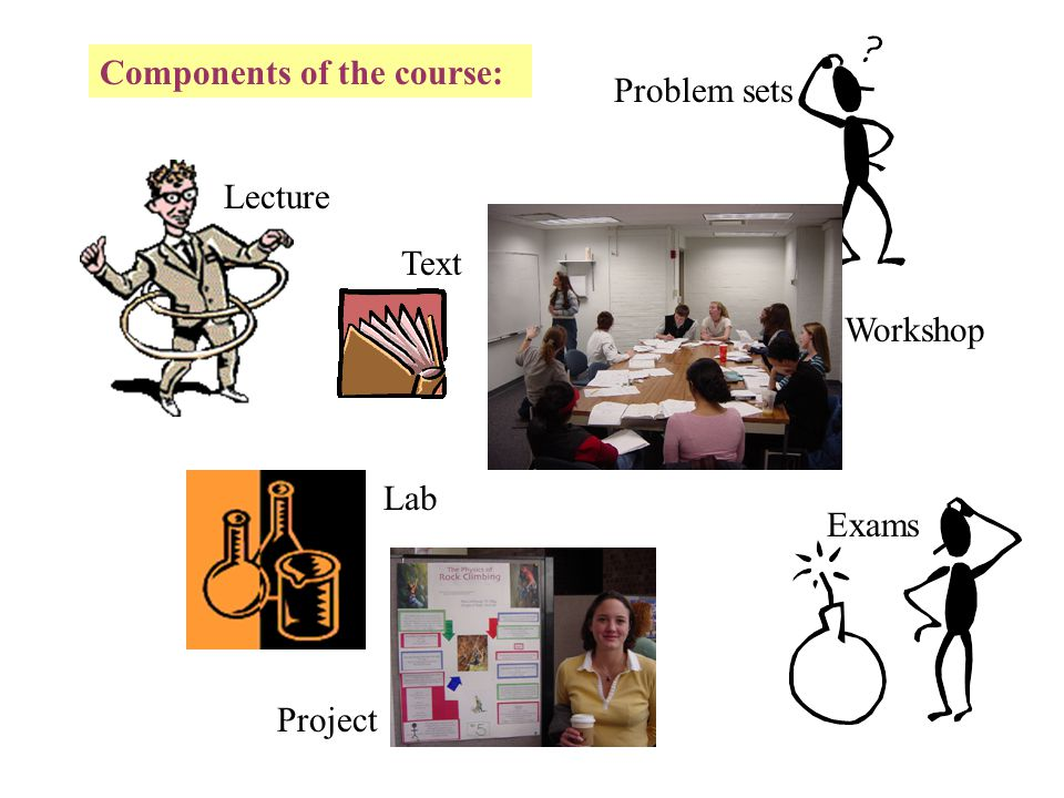 Components of the course: Lecture Lab Text Problem sets Workshop Project A fun break from the analytical.