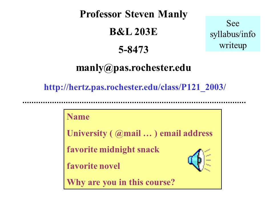 Physics 121 a physics survey course designed for physics and engineering majors.