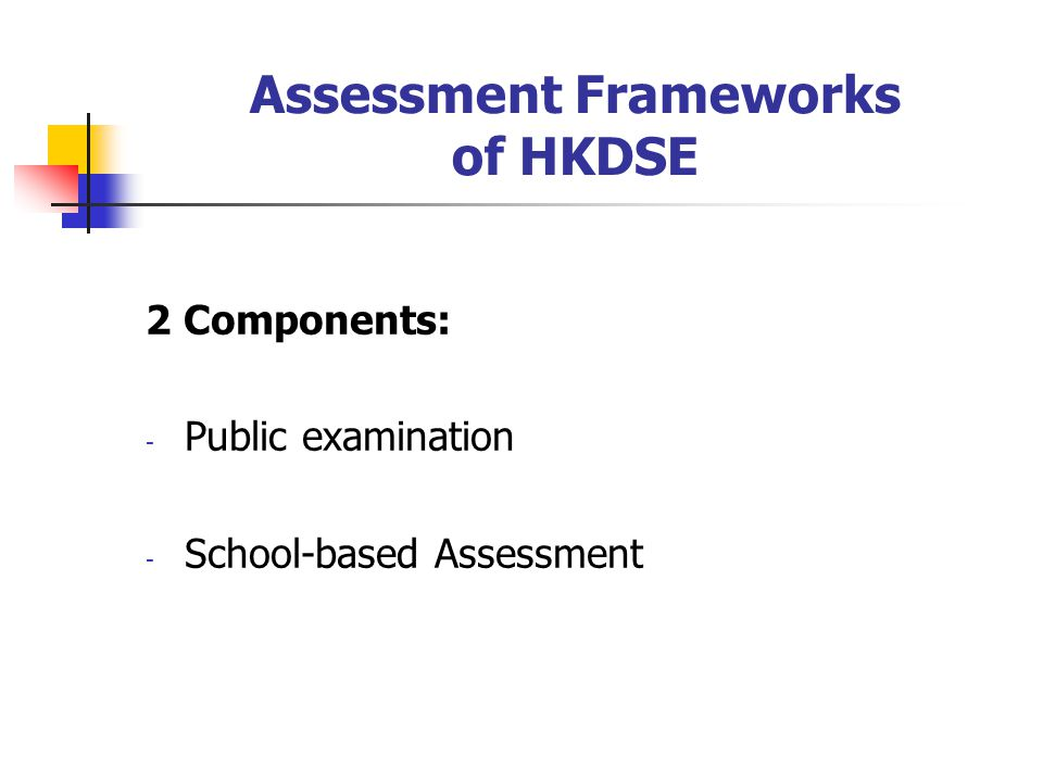 Assessment Frameworks of HKDSE 2 Components: - Public examination - School-based Assessment