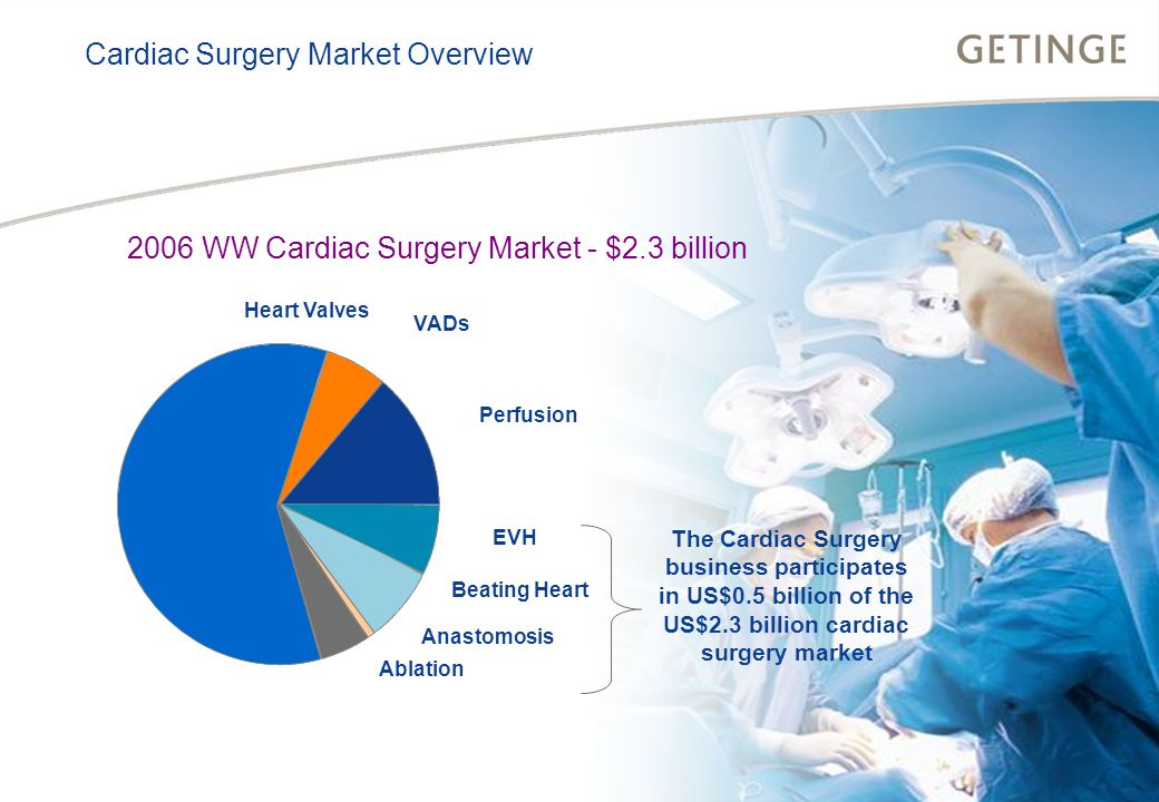 BUSINESS AREA INFECTION CONTROL HEALTHCARE Cardiac Surgery Market Overview 2006 WW Cardiac Surgery Market - $2.3 billion VADs Perfusion EVH Beating Heart Anastomosis Ablation Heart Valves The Cardiac Surgery business participates in US$0.5 billion of the US$2.3 billion cardiac surgery market