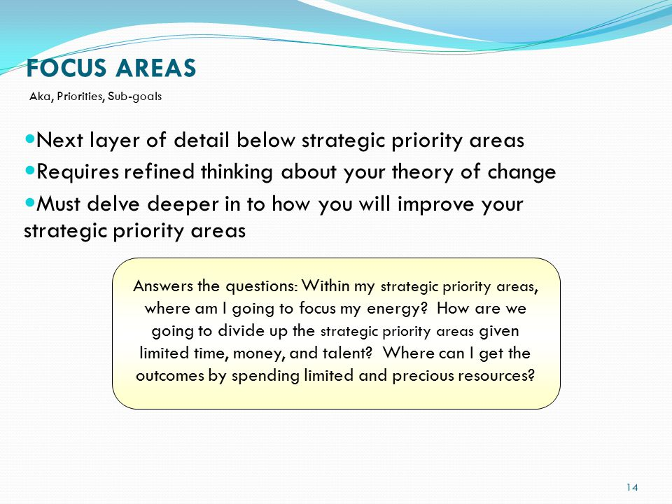 FOCUS AREAS Answers the questions: Within my strategic priority areas, where am I going to focus my energy.