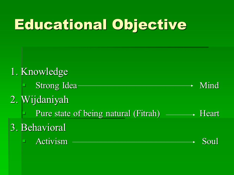 Educational Objective 1. Knowledge  Strong Idea Mind 2.