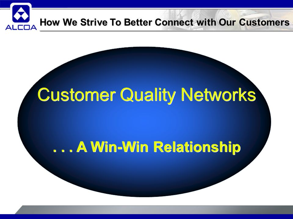 Customer Quality Networks... A Win-Win Relationship Customer Quality Networks...