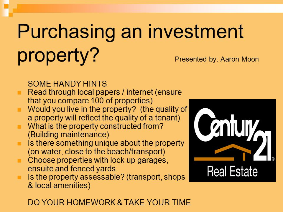 Purchasing an investment property.