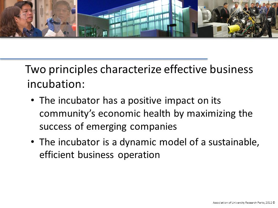 Association of University Research Parks, 2012 © Two principles characterize effective business incubation: The incubator has a positive impact on its community's economic health by maximizing the success of emerging companies The incubator is a dynamic model of a sustainable, efficient business operation