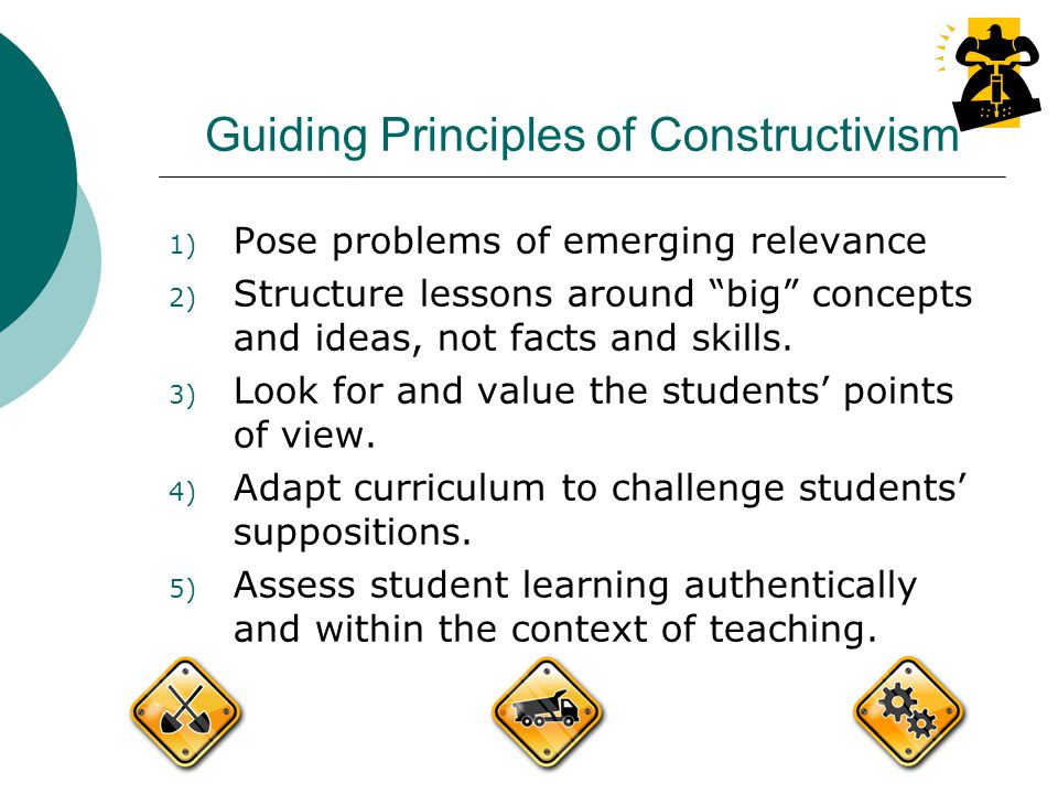 Guiding Principles of Constructivism 1) Pose problems of emerging relevance 2) Structure lessons around big concepts and ideas, not facts and skills.