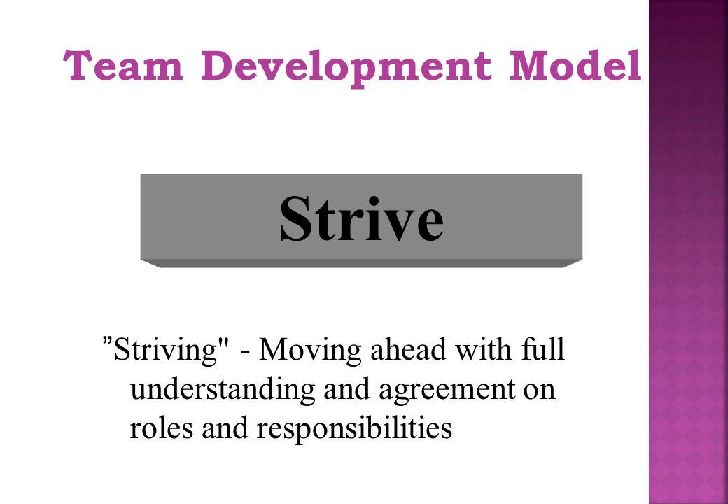 """Team Development Model Strive """"Striving"""