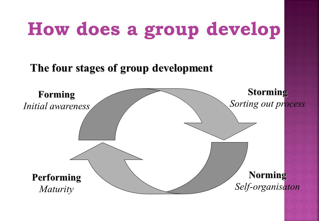 How does a group develop The four stages of group development Forming Initial awareness Storming Sorting out process Performing Maturity Norming Self-