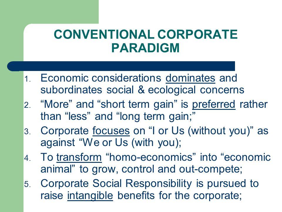 CONVENTIONAL CORPORATE PARADIGM 1.