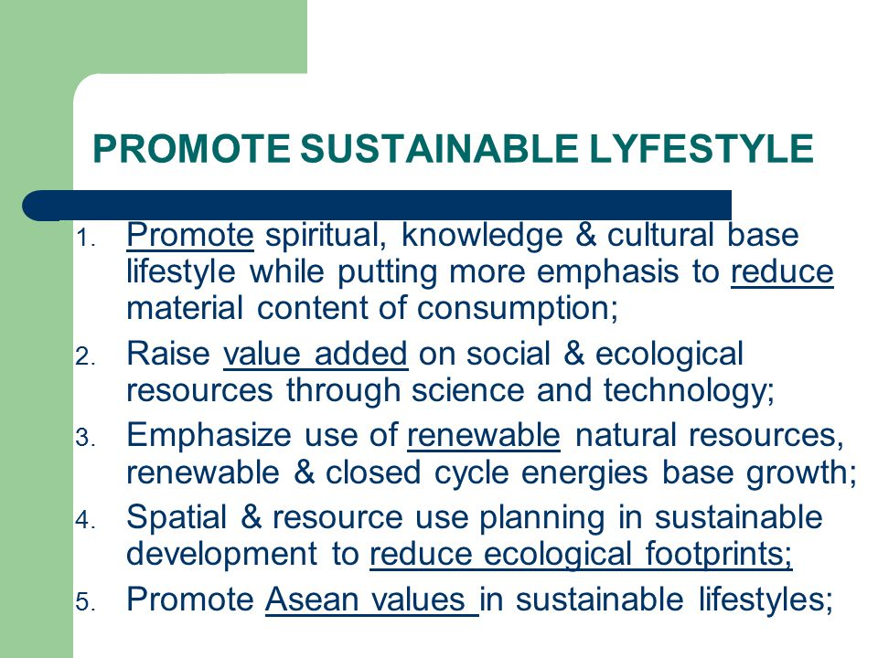 PROMOTE SUSTAINABLE LYFESTYLE 1. Promote spiritual, knowledge & cultural base lifestyle while putting more emphasis to reduce material content of cons