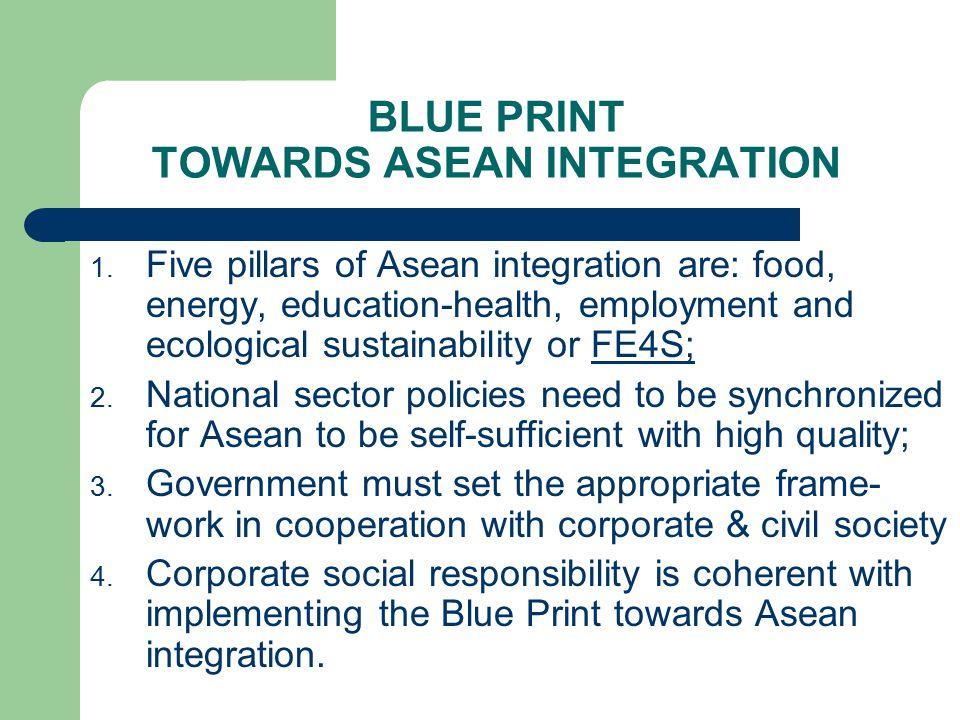BLUE PRINT TOWARDS ASEAN INTEGRATION 1.