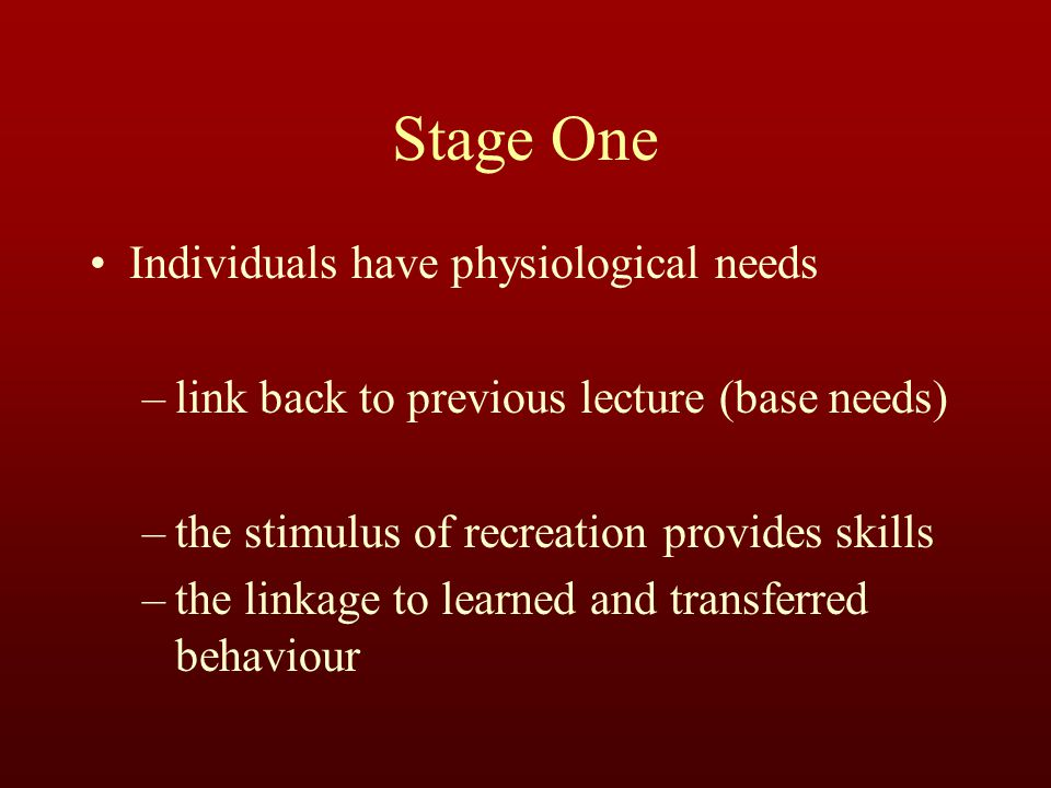 Stage One Individuals have physiological needs –link back to previous lecture (base needs) –the stimulus of recreation provides skills –the linkage to learned and transferred behaviour