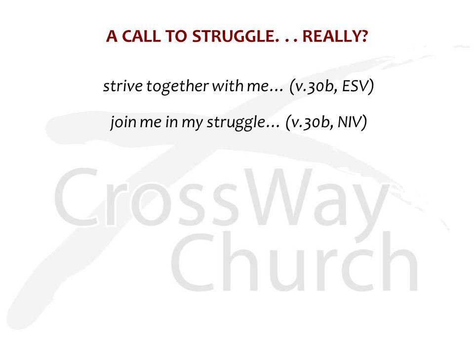 A CALL TO STRUGGLE... REALLY? strive together with me… (v.30b, ESV) join me in my struggle… (v.30b, NIV)