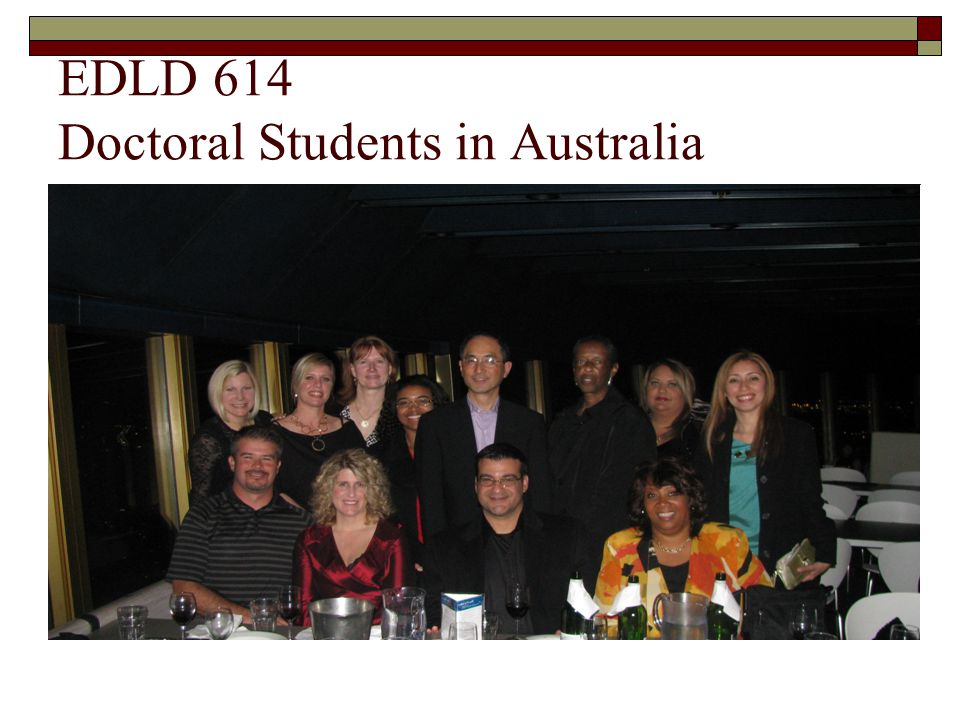 EDLD 614 Doctoral Students in Australia