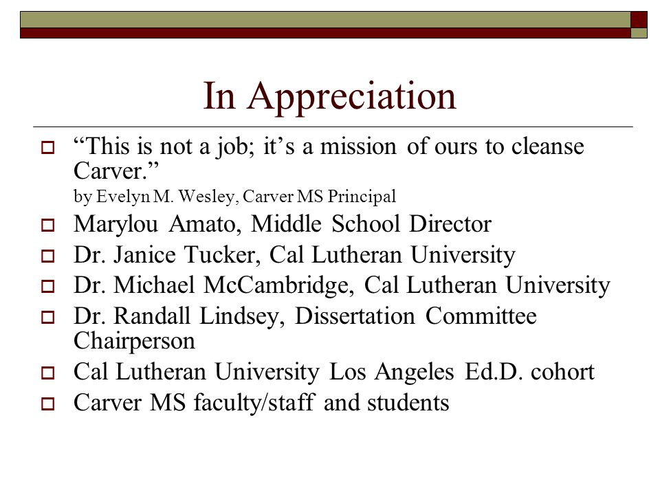 In Appreciation  This is not a job; it's a mission of ours to cleanse Carver. by Evelyn M.