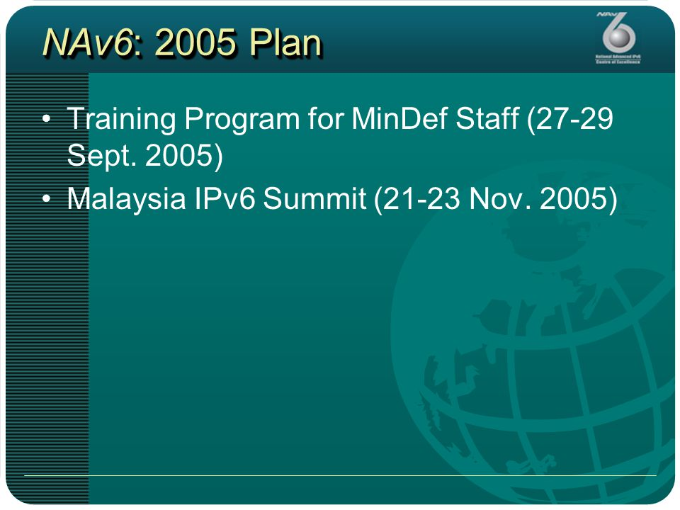 NAv6: 2005 Plan Training Program for MinDef Staff (27-29 Sept.