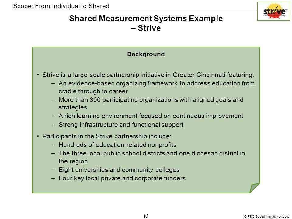 © FSG Social Impact Advisors 12 Shared Measurement Systems Example – Strive Scope: From Individual to Shared Background Strive is a large-scale partnership initiative in Greater Cincinnati featuring: –An evidence-based organizing framework to address education from cradle through to career –More than 300 participating organizations with aligned goals and strategies –A rich learning environment focused on continuous improvement –Strong infrastructure and functional support Participants in the Strive partnership include: –Hundreds of education-related nonprofits –The three local public school districts and one diocesan district in the region –Eight universities and community colleges –Four key local private and corporate funders